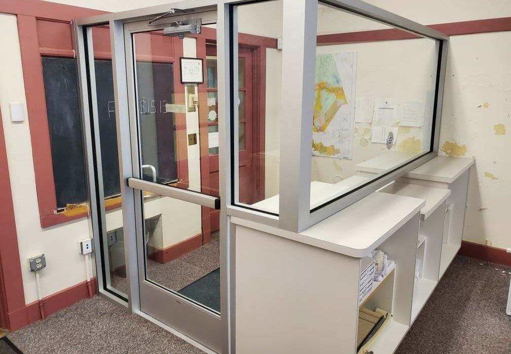 Alternate angle of the custom glass door by Modern Glazing