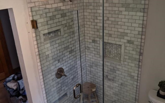 New custom glass shower enclosure hand crafted by Modern Architechural Glazing based in Rochdale, MA